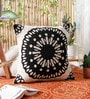 KEH Black Wool & Cotton Embroidery 20 x 20 Inch Artistic Handmade Chain Stitch Cushion Cover