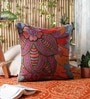 KEH Blue Wool & Cotton Embroidery 20 x 20 Inch Artistic Handmade Chain Stitch Cushion Cover