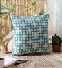 Blue Wool & Cotton Embroidery 20 x 20 Inch Artistic Handmade Chain Stitch Cushion Cover by KEH