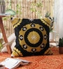 Golden Wool & Cotton Embroidery 20 x 20 Inch Artistic Handmade Chain Stitch Cushion Cover by KEH