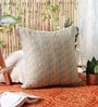 KEH Ice Blue Wool & Cotton Embroidery 20 x 20 Inch Artistic Handmade Chain Stitch Cushion Cover