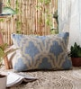 Light Blue Wool & Cotton Embroidery 14 x 22 Inch Artistic Handmade Chain Stitch Cushion Cover by KEH