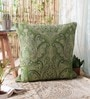 Lime Wool & Cotton Embroidery 26 x 26 Inch Artistic Handmade Chain Stitch Cushion Cover by KEH