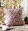 KEH Mauve Wool & Cotton Embroidery 20 x 20 Inch Artistic Handmade Chain Stitch Cushion Cover