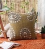 Mehendi Wool & Cotton Embroidery 20 x 20 Inch Artistic Handmade Chain Stitch Cushion Cover by KEH
