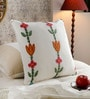 Multicolour Cotton & Wool 20 x 20 Inch Flower Cushion Cover by KEH