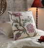 Multicolour Cotton & Wool 20 x 20 Inch Rose Cushion Cover by KEH