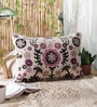 Multicolour Wool & Cotton Embroidery 16 x 24 Inch Artistic Handmade Chain Stitch Cushion Cover by KEH
