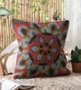 KEH Multicolour Wool & Cotton Embroidery 20 x 20 Inch Artistic Handmade Chain Stitch Cushion Cover