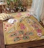 Multicolour Wool Hand Embroidered Floral Area Rug by KEH