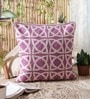Radiant Orchid Wool & Cotton Embroidery 20 x 20 Inch Artistic Handmade Chain Stitch Cushion Cover by KEH