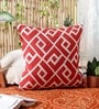 Red Wool & Cotton Embroidery 20 x 20 Inch Artistic Handmade Chain Stitch Cushion Cover by KEH