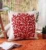 KEH Red Wool & Cotton Embroidery 20 x 20 Inch Artistic Handmade Chain Stitch Cushion Cover