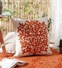 Saffron Wool & Cotton Embroidery 20 x 20 Inch Artistic Handmade Chain Stitch Cushion Cover by KEH