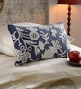 KEH White & Blue Cotton & Wool 12 x 20 Inch Cushion Cover