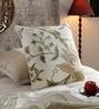 KEH White & Brown Cotton & Wool 20 x 20 Inch New Renaissance Cushion Cover
