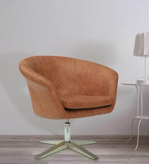 Stupendous Kharkiv Lounge Chair In Orange Suede Leather By The Armchair Caraccident5 Cool Chair Designs And Ideas Caraccident5Info