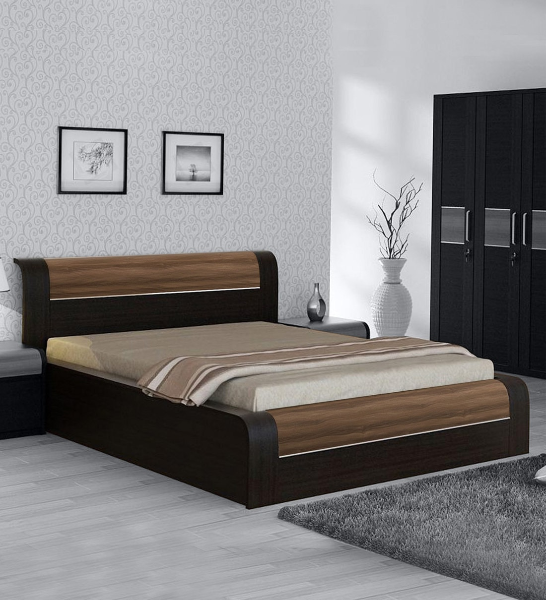 Picture of: Buy King Size Bed With Storage In Natural Wenge Woodpore Finish By Spacewood Online Contemporary King Size Beds Beds Furniture Pepperfry Product