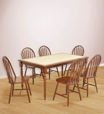 Kiera Six Seater Dining Set in Cherry & Beige Colour