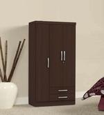 Kimura Three Door Wardrobe with Two Drawers in Tobacco Finish