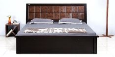 King Size Bed with Storage in Dark Brown Finish