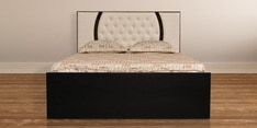 King Size Bed with Storage in Ivory Black Finish