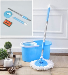 Kingsburry Plastic Blue Mop With Free Tile Brush & Mop Rod