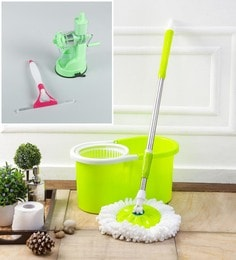 Kingsburry Plastic Green Mop With Free Juicer & Spray Glass Wiper