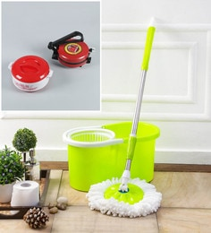 Kingsburry Plastic Green Mop With Free Roti Maker & Casserole
