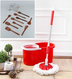Kingsburry Plastic Red Mop With Free Cutlery & Gas Trolley
