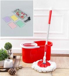 Kingsburry Plastic Red Mop With Free Heating Pad & Foam Scrub Pad