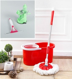 Kingsburry Plastic Red Mop With Free Juicer & Spray Glass Wiper