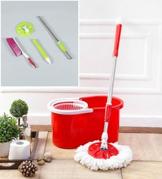 Kingsburry Plastic Red Mop With Free Mop Rod & Mat Brush