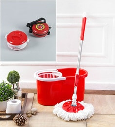 Kingsburry Plastic Red Mop With Free Roti Maker & Casserole