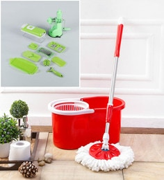 Kingsburry Plastic Red Mop With Free Vegetable Cutter & Juicer
