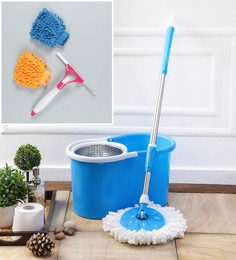 Kingsburry Steel Blue Mop With Free Hand Gloves & Spray Glass Wiper