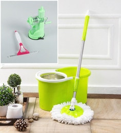 Kingsburry Steel Green Mop With Free Juicer & Spray Glass Wiper