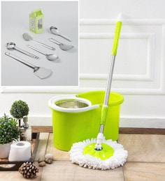 Kingsburry Steel Green Mop With Free Set Of 6 Serving & Cooking & 4 In1 Slicer
