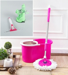 Kingsburry Steel Pink Mop With Free Juicer & Spray Glass Wiper