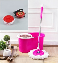 Kingsburry Steel Pink Mop With Free Roti Maker & Casserole