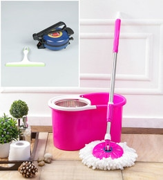 Kingsburry Steel Pink Mop With Free Roti Maker & Hand Wiper