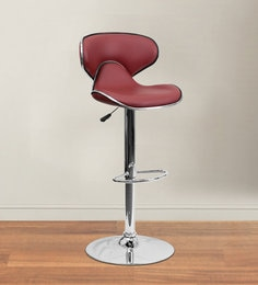 Kitchen/Bar Stool In Maroon Leatherette