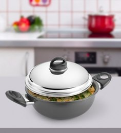Kitchen Chef Hard Anodised Deep Kadai With Dome Lid 305 Mm