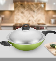 Kitchen Chef Natura Chinese Wok With Steel Lid 305 Mm In Aluminium