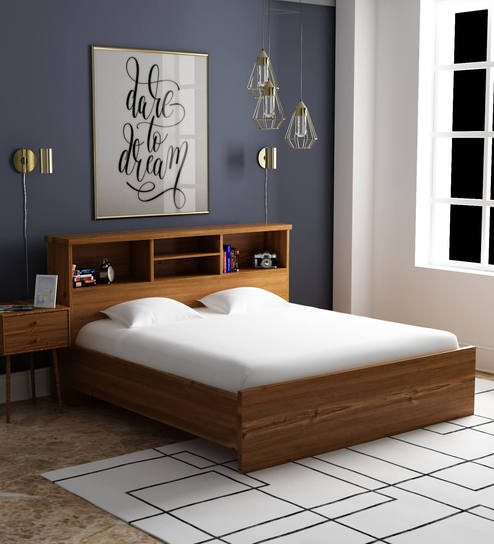 Buy Kimura King Size Bed In Teak Finish By Mintwud Online Modern