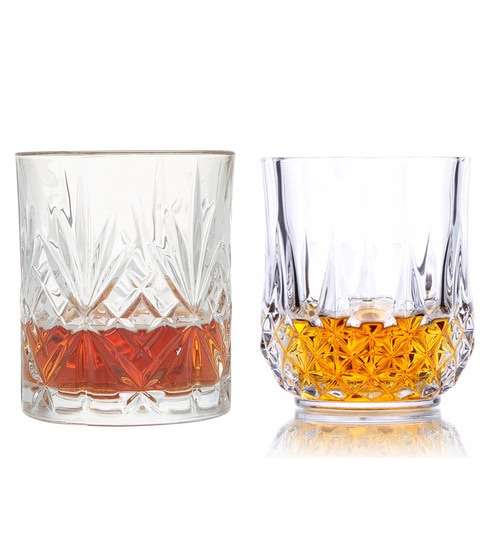King International Crystal Glass Heavy Base Whisky Glasses - Set of 8