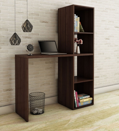 Kishi Study Desk With Book Shelf In Nut Brown Finish By Mintwud