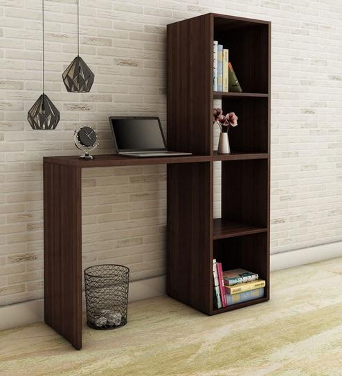 Buy Kishi Study Desk With Book Shelf In Tobacco Finish By Mintwud