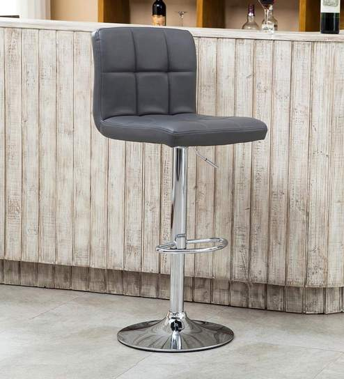 Buy Kitchen Bar Stool In Grey Leatherette By Exclusive Furniture