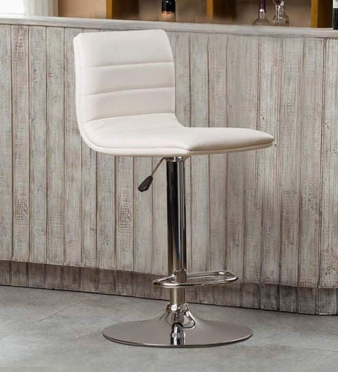 Buy Kitchen Bar Stool In White Leatherette By Exclusive Furniture